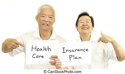 Happy Asian senior couple health care and insurance plan...