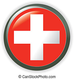 Switzerland, shiny button flag illustration