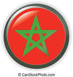 MOROCCO, shiny button flag