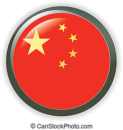 CHINA, shiny button flag  illustration