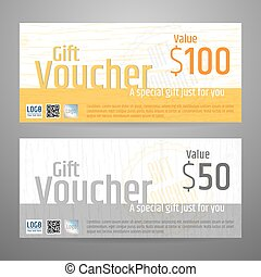 Gift certificate, voucher, coupon template in vector