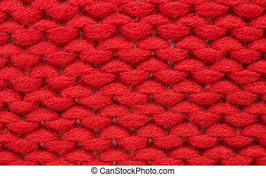 Plain knitting - Sample of plain knitting stitch Red acrylic...