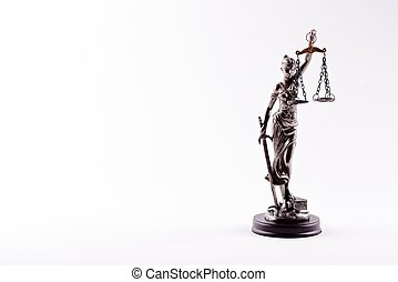 Themis - statuette of the Goddess of Justice isolated on...