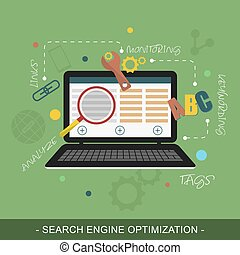 SEO Search engine optimization vector concept illustration...