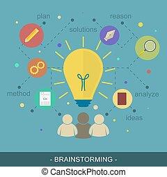 Brainstorming ideas vector illustration flat concept.