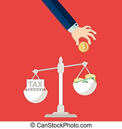 Money balancing with TAX on scales. TAX burden.