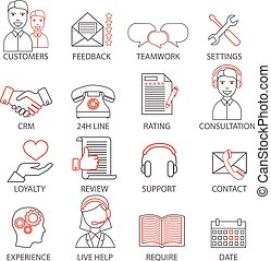 Icons related to support business management, strategy,...