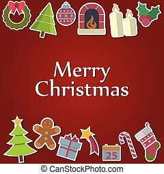 Vector Christmas Messages and objects on  background.