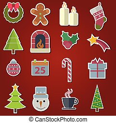 Vector Christmas icons and objects on background.