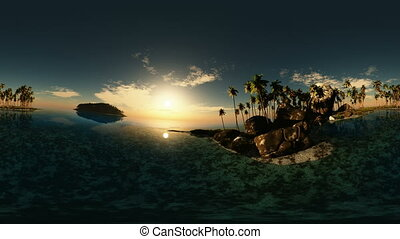 panoramic of tropical beach at sunset made with u043Ene 360...