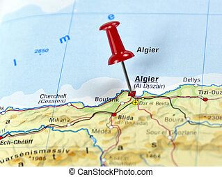 pin set on Algier - Map of Algeria with pin set on Algier.