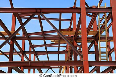 Construction frame. Part of a house under construction.