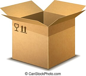 Realistic open cardboard box with parcel post signs on white
