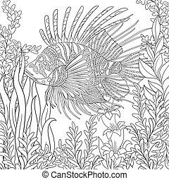Stylized zebrafish (lionfish) - Stylized cartoon zebrafish...