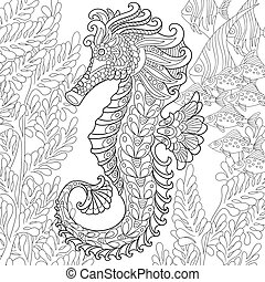 Zentangle stylized seahorse - Zentangle stylized cartoon...
