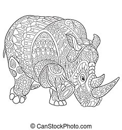 Hand drawn stylized rhino - Hand drawn stylized cartoon...