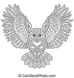 Hand drawn stylized eagle owl - Hand drawn stylized cartoon...