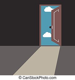 Door leading from dark gray room to blue sky with clouds and bright daylight.
