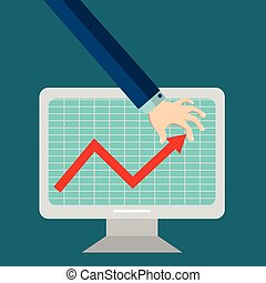 Business man pulling up growth progress arrow graph