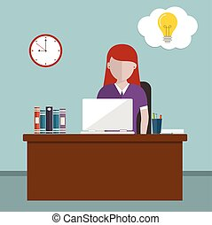Workday and workplace concept Vector illustration of a woman...