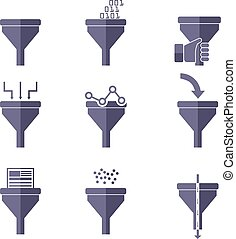 plano, concepto, filtro, túnel, grande, Conceptos, Ilustración, creativo, diseño, análisis, proceso, datos