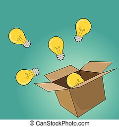 light bulb concept outside the box as creative and leadership concept