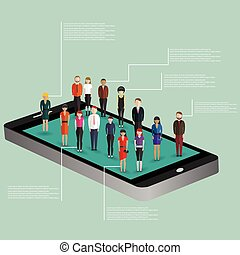 Mobile generation template with crowd of casual micro people on smart phone touch screen flat 3d web isometric infographic concept vector. Communication addiction. Creative people collection.