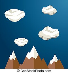 Mountains between clouds. Modern polygonal shapes...