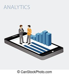 3D Smartphone with graphs in the isometric projection with businessman isolated on a white background. Mobile analytics concept. Modern infographic template. Isometric vector illustration.