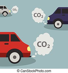 Cars emits CO2, carbon dioxide. Concept of smog, pollutant,...