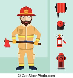 Firefighting and icons set inventory extinguishing fire rescue professional composition.