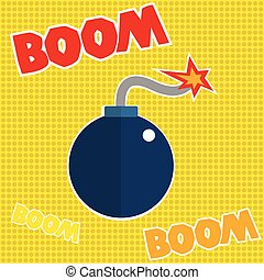 Boom, text, typography, word, font, Bomb, fire ready to boom, icon, graphic, vector.