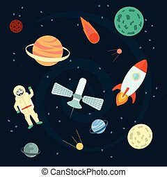 Stock Vector Illustration: Space set of planets, orbits,...