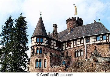 Roof of the medieval castle Berlepsch in Germany - View on...