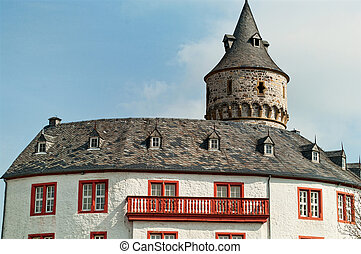 Roof of the medieval castle Oelber in Germany - Roof and a...