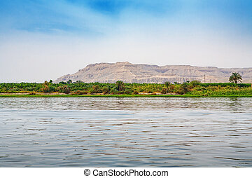 Nile river Egypt - View of coastline Nile river near Luxor...