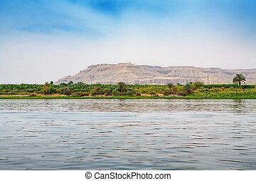 Nile river. Egypt - View of coastline Nile river near Luxor....