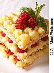 French cuisine: strawberry millefeuille with custard...