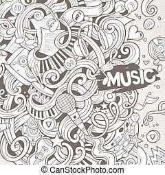 Cartoon hand-drawn doodles Musical illustration Sketchy line...