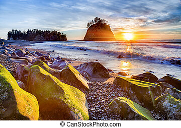 Sunset at Rialto beach - Sunset over the Pacific coast at...