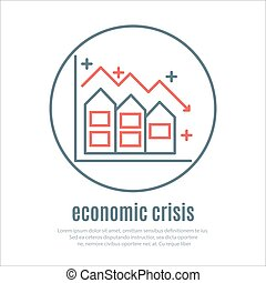 icon on a theme of economic crisis with house