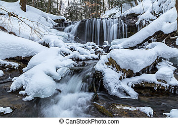 Weavers Creek Falls Winter View in Owen Sound, Ontario,...