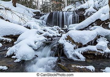 Weaver's, Creek, Falls, Winter, View, in, Owen, Sound,...
