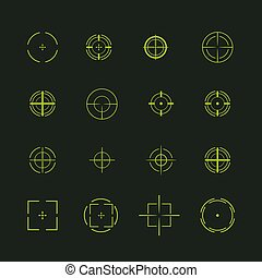 Set of different flat vector cross hair sign icons. Line...