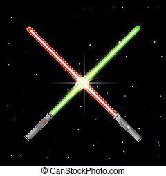 Two light swords on stars background.