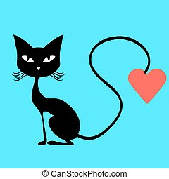 Black cat with a red heart
