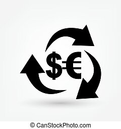 The currency exchange dollar icon