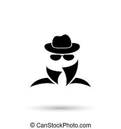 Black icon of anonymous spy agent