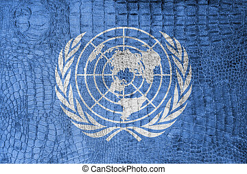 Flag of United Nations, on a luxurious, fashionable canvas