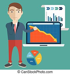 Confused businessman, showing task and analytic fail, flat modern design